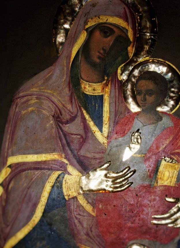 Neitsyt Marian ikoni Evangelistrian-luostarin kirkossa Skiathoksella